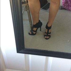 Black faux leather heels